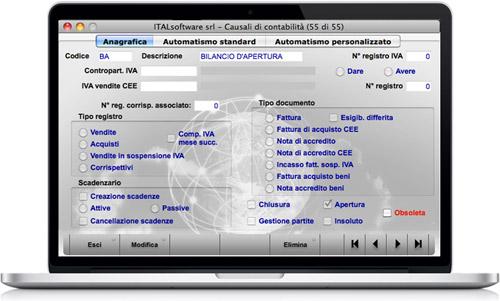 schermata prima nota - cosmo gestionale aziendale